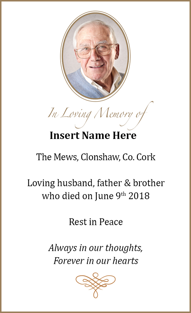 Memorial Cards Swift Design Waterford