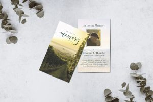 Bespoke design memorial cards countryside