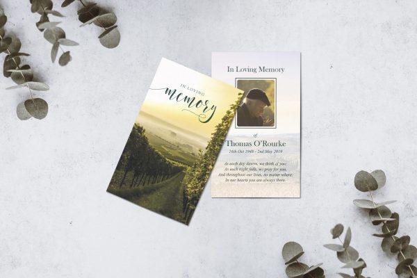 Bespoke design memorial cards countryside