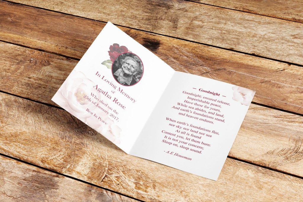Bespoke design memorial cards rose