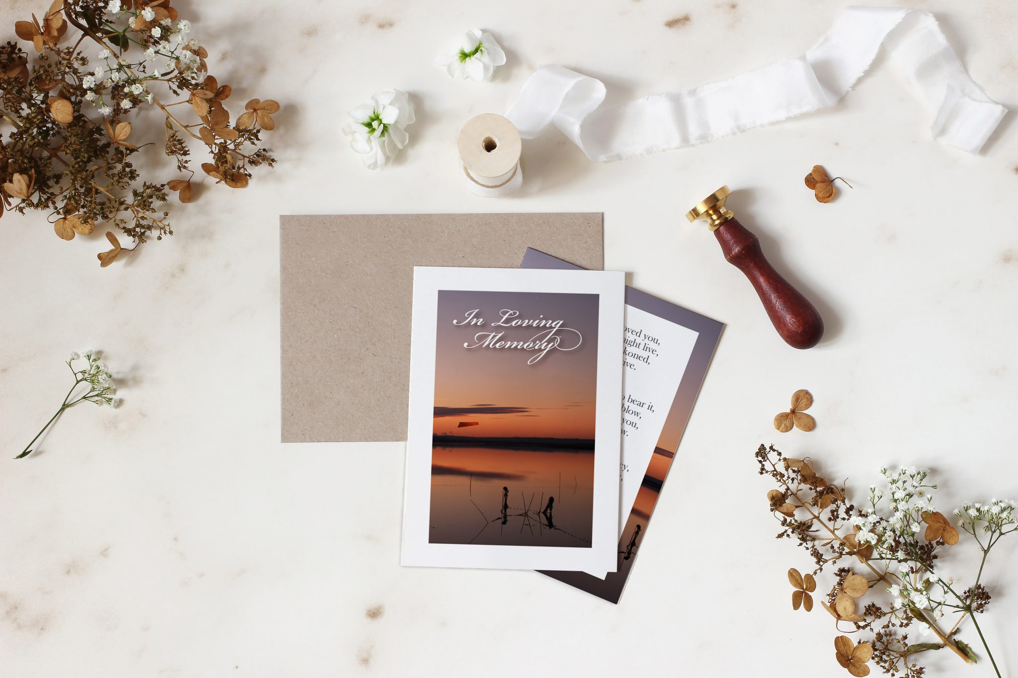 Bespoke design memorial cards sunset
