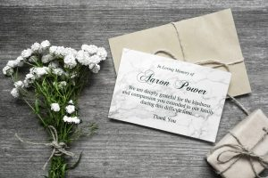 Bespoke design memorial cards white flowers