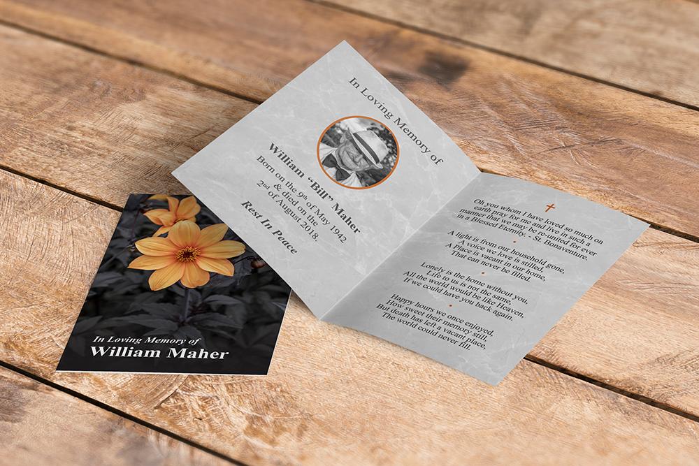 memorial cards orange flower