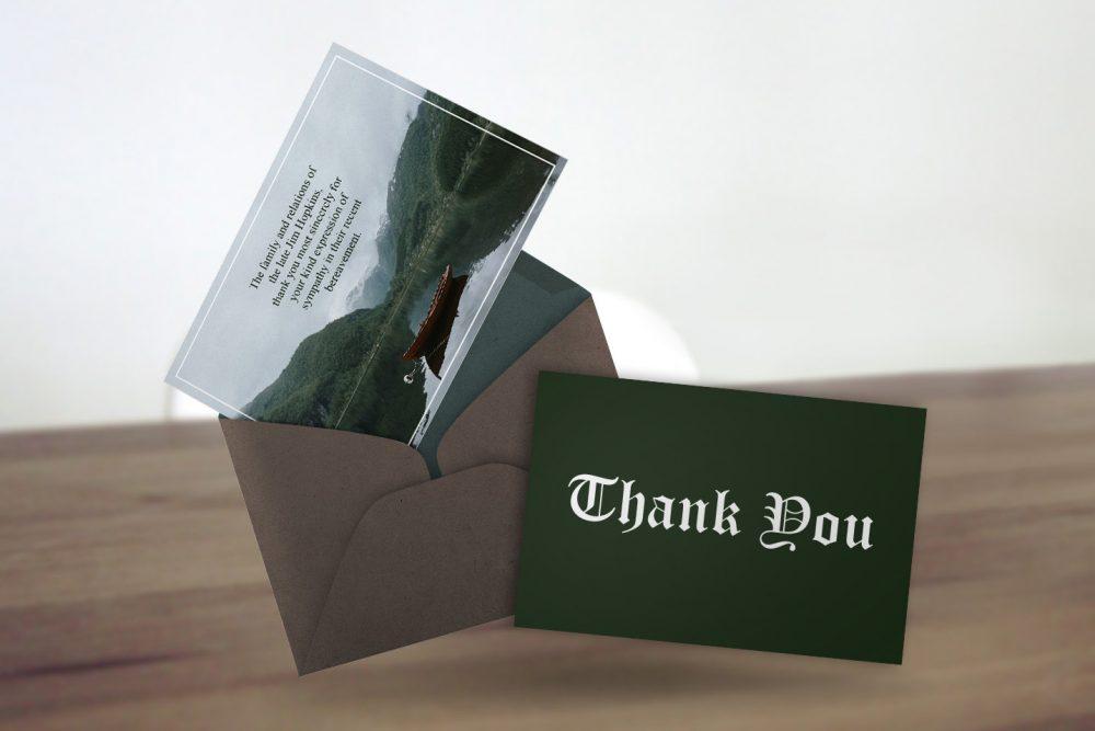thank you memorial card lake