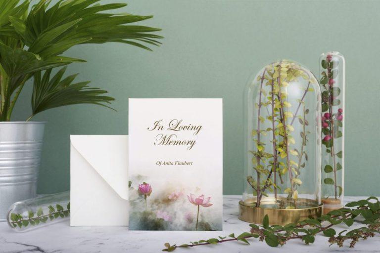 memorial card lotus flower