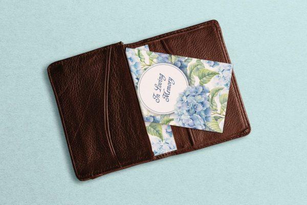 wallet card blue hydrangea
