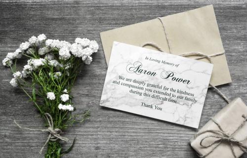 Bespoke design memorial cards white flowers