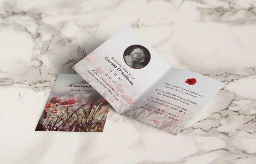 memorial card rose