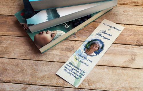 Memorial cards bookmark in loving memory