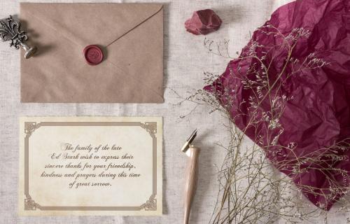 Memorial cards envelope seal