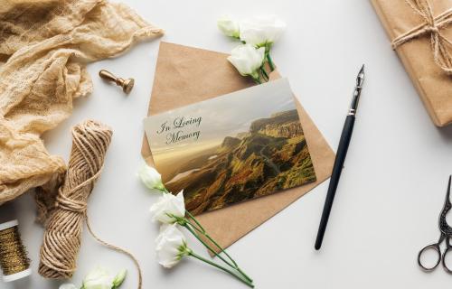 Memorial cards mountains